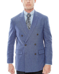 Stafford Stafford Linen Cotton Double Breasted Sport Coat Classic Fit