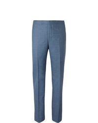 Richard James Blue Slim Fit Wool Suit Trousers