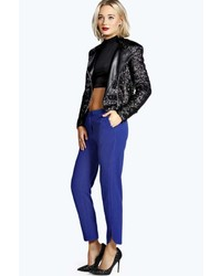 Boohoo Lea Curved Ankle Textured Crepe Tapered Trousers