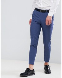 MOSS BROS Moss London Skinny Cropped Suit Trousers In Blue Lagoon