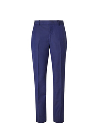 Alexander McQueen Royal Blue Slim Fit Wool And Mohair Blend Suit Trousers