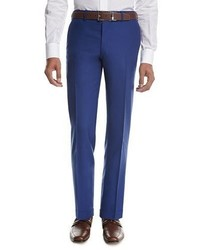 Tropical wool cashmere flat front trousers high blue medium 3648461