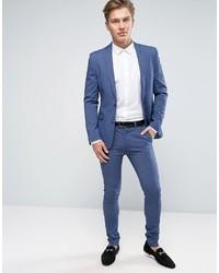 Asos Wedding Super Skinny Suit Pants In Denim Twist | Where to buy ...