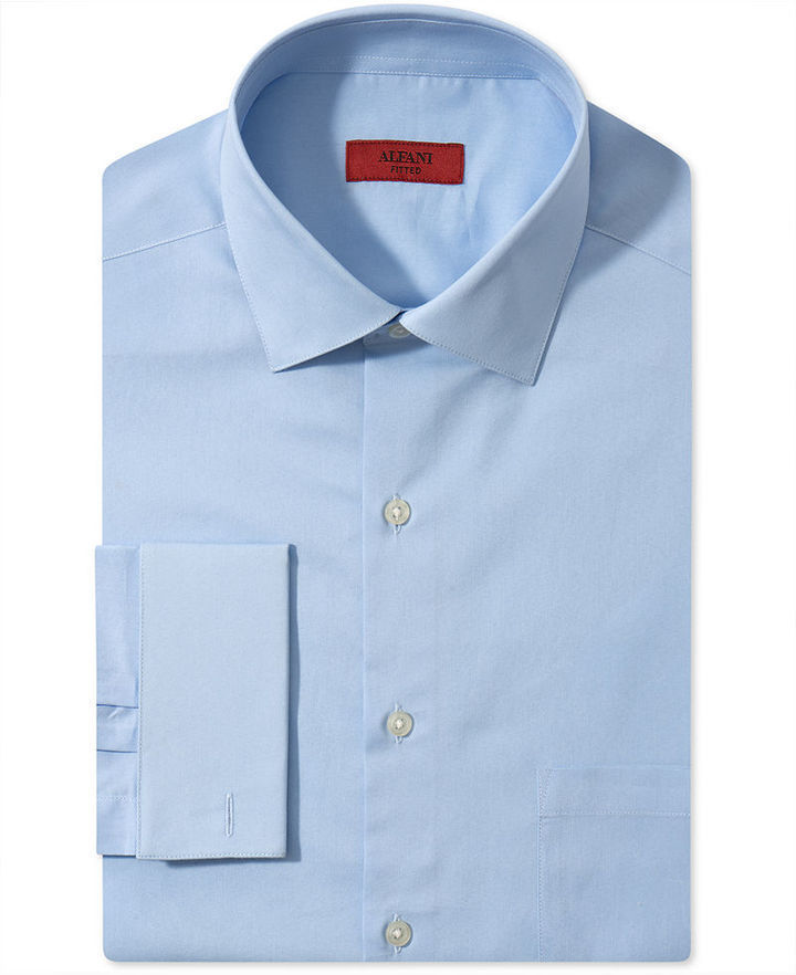 Alfani dress shirt fitted stretch blue jay solid with for How to stretch a dress shirt