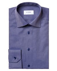 Eton Contemporary Fit Navy Textured Solid Dress Shirt