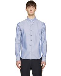 Moncler Gamme Bleu Blue Oxford Logo Patch Shirt