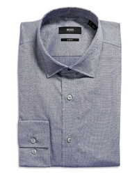 BOSS Joy Slim Fit Dobby Cotton Linen Dress Shirt