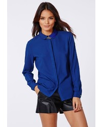 Missguided Janella Crepe Blouse Cobalt Blue
