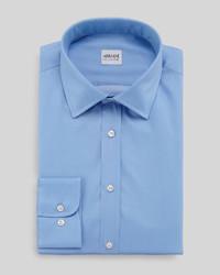 Armani Collezioni Modern Fit Solid Sateen Dress Shirt Blue