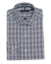 Tommy Hilfiger Non Iron Regular Fit Mini Check Spread Collar Dress Shirt