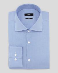 Hugo Boss Slim Fit Houndstooth Dress Shirt Blue