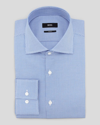 Hugo Boss Slim Fit Houndstooth Dress Shirt Blue