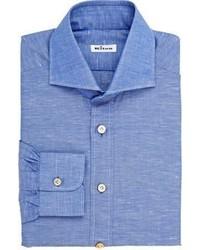 Kiton Slub Dress Shirt Blue
