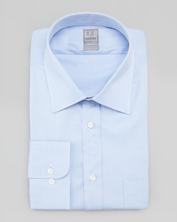 Ike Behar Solid Basic Fit Dress Shirt Light Blue