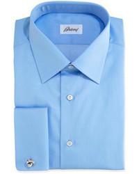 Brioni Solid French Cuff Dress Shirt Blue