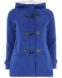 Blue duffle coat fur hood medium 125004