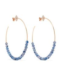 Diane Kordas 18 Karat Gold Aventurine And Diamond Hoop Earrings