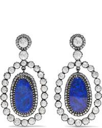 Amrapali 18 Karat Gold Silver Opal And Diamond Earrings Blue