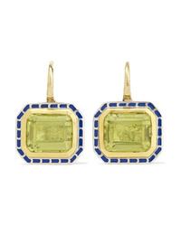 Alice Cicolini 22 Karat Gold Sterling Silver Enamel And Quartz Earrings