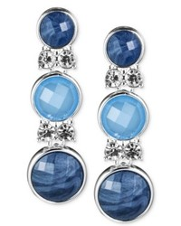 Anne Klein Silver Tone Blue Cabochon Triple Drop Earrings