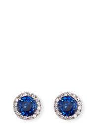 FANTASIA By Deserio Blue White Cz Round Halo Stud Earrings