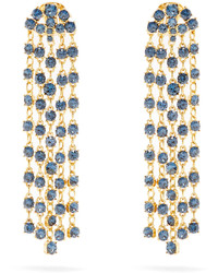 Oscar de la Renta Crystal Embellished Clip On Earrings