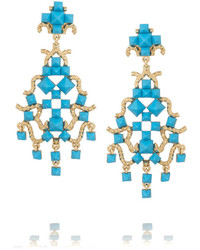 Valentino Enameled Gold Tone Clip Earrings Turquoise