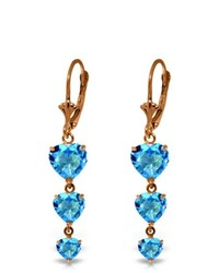 Galaxy Gold Products 14k Rose Gold Heartthrob Blue Topaz Earrings