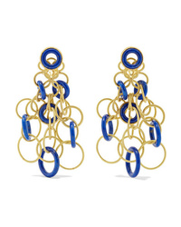 Buccellati Hawaii 18 Karat Gold Lapis Lazuli Earrings