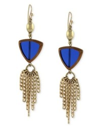 Jessica Simpson Earrings Gold Tone Island Belle Blue Stone And Chain Tassel Drop Earrings
