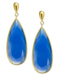 Macy's 14k Gold Over Sterling Silver Earrings Blue Chalcedony Large Pear Drop Earrings