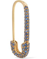 Anita Ko Safety Pin 18 Karat Gold Sapphire Earring