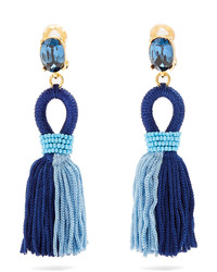 Oscar de la Renta Short Tassel Drop Clip On Earrings