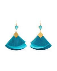 Katerina Makriyianni Twirl Drop Gold Tone Silk And Turquoise Earrings