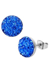 West Coast Jewelry Stud Earrings With Blue Czs In A Pave Setting