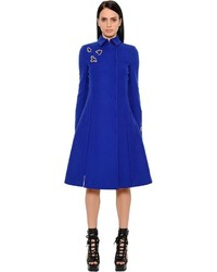 Versace Embellished Merino Wool Flared Coat