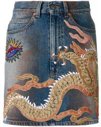 Gucci Embellished Denim Mini Skirt