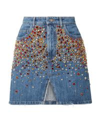 Miu Miu Embellished Denim Mini Skirt