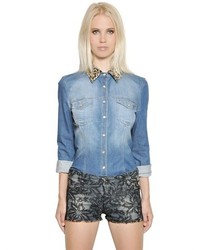Amen Embellished Cotton Denim Shirt