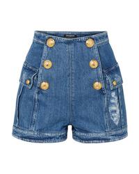 Balmain Button Embellished Distressed Denim Shorts