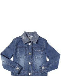 MonnaLisa Embellished Light Stretch Denim Jacket