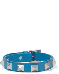 Valentino The Rockstud Leather And Gold Tone Bracelet Azure