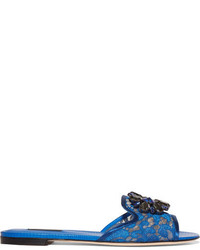 Dolce & Gabbana Embellished Corded Lace And Lizard Effect Leather Slides Cobalt Blue