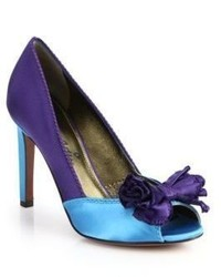 Lanvin Colorblock Satin Peep Toe Pumps