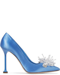 Embellished satin pumps blue medium 3946993