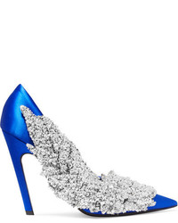 Balenciaga Sequin Embellished Satin Pumps Bright Blue