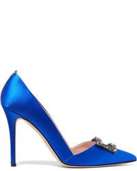 Sarah Jessica Parker Sjp By Windsor Embellished Satin Pumps Bright Blue
