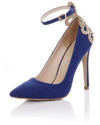 Little Mistress Blue Embellished Court Shoes