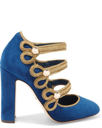 Dolce & Gabbana Embellished Suede Mary Jane Pumps Storm Blue
