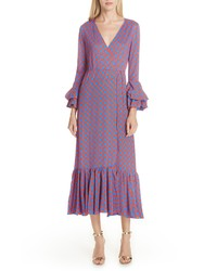 DVF Chain Link Ruffle Sleeve Wrap Dress